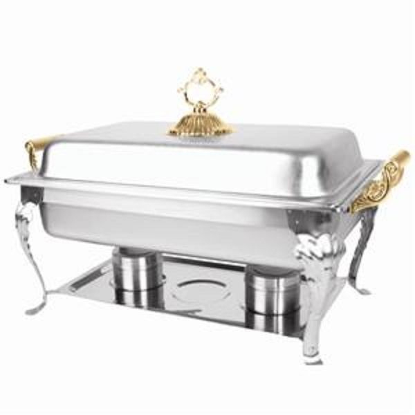 Thunder Group SLRCF8533 Full Size Square Brass Handle Deluxe Chafer 8 Qt.
