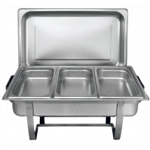 TigerChef Stainless Oblong 8 Quart Chafer with Third Size Inserts