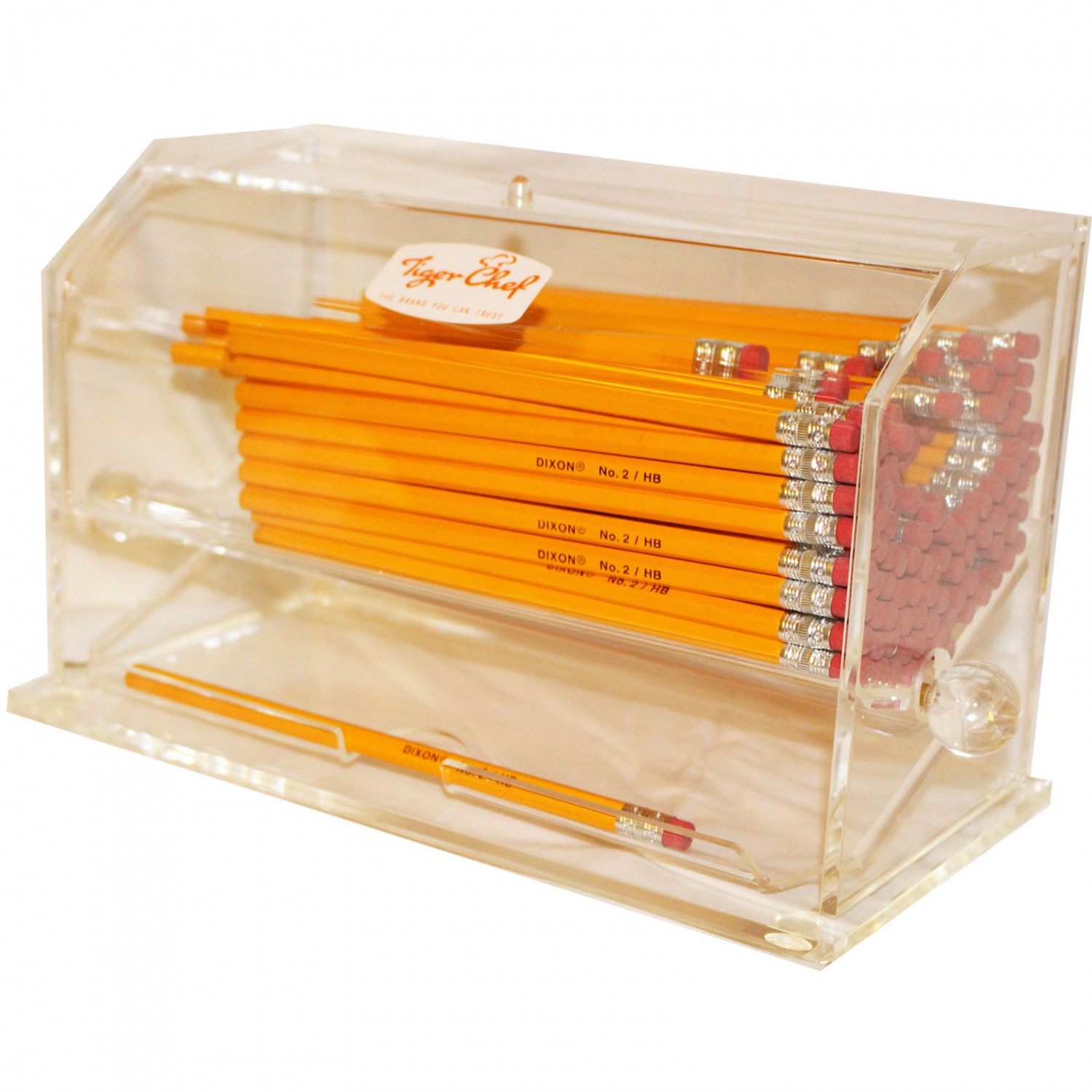 TigerChef Clear Acrylic Pen and Pencil Dispenser Teachers Gifts with 1 Dozen Pencils