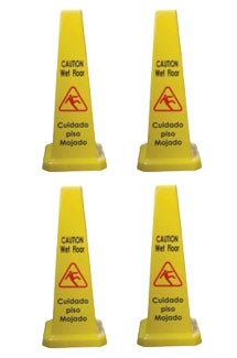 "Tiger Chef PLWFC027 Cone Shape Caution Sign 27"" - 4 Pack"