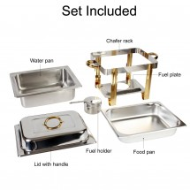 TigerChef Square Chafer Set with Gold Accents and Free Chafing Gel Fuel 4 Qt.