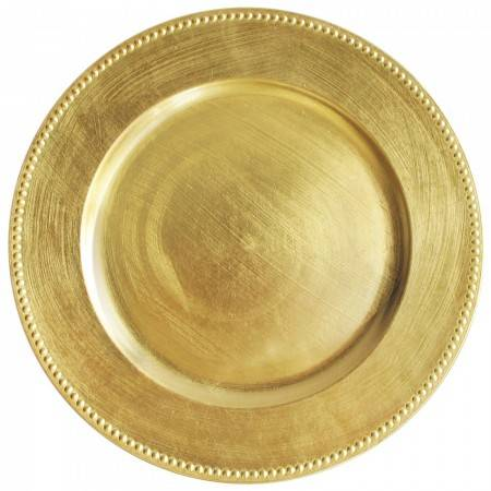 TigerChef  Round Gold Beaded Charger Plate 13""