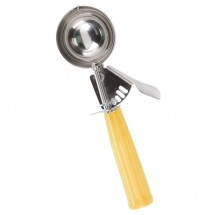 TigerChef Stainless Steel Disher with Yellow Handle 1-2/3 oz.