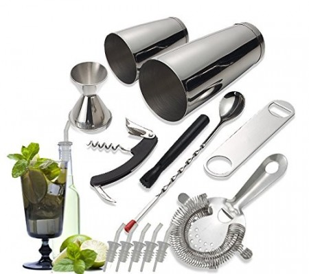 TigerChef 14 Piece Stainless Steel Bar Tool and Cocktail Making Set