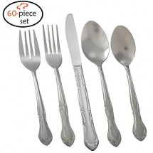 TigerChef Florentine 18/0, 60-Piece Flatware Set, Service for 12