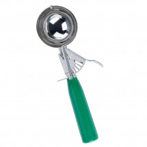 TigerChef Stainless Steel Disher with Green Handle 2-2/3 oz.