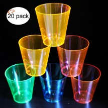 TigerChef 2 oz. Hard Plastic Shooter Glasses, Assorted Colors - 20 pcs