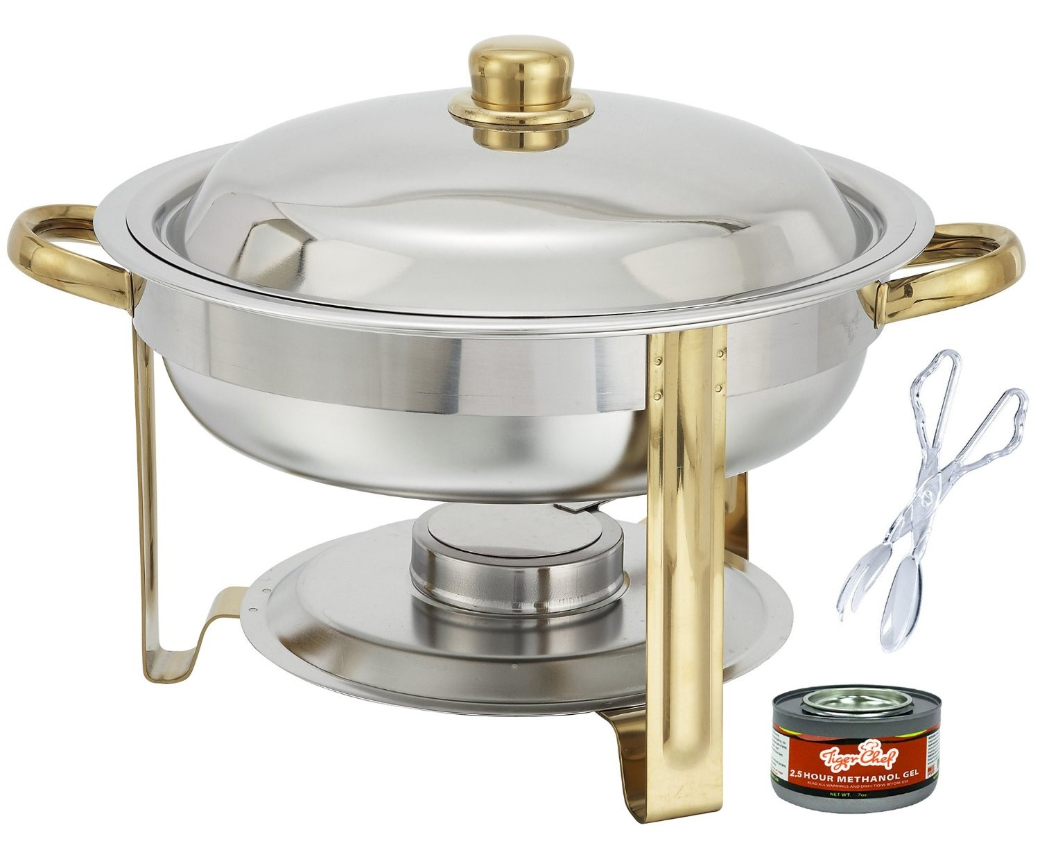 TigerChef Gold Accented Round Chafer 4 Qt, with Free Chafing Gel and Tongs