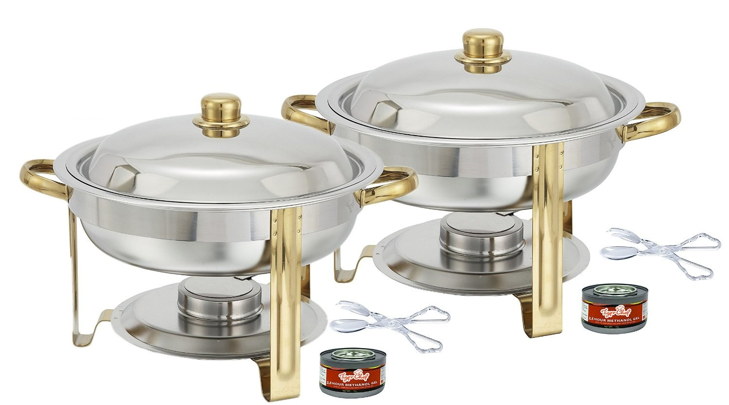 TigerChef 4 Qt. Round Gold Accented Chafing Dish, with Free Chafing Gel and Tongs - Set of 2