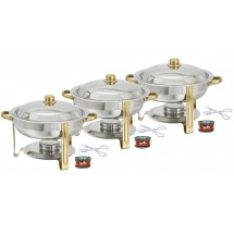 TigerChef 4 Qt. Round Gold Accented Chafing Dish, with Free Chafing Gel and Tongs - Set of 3