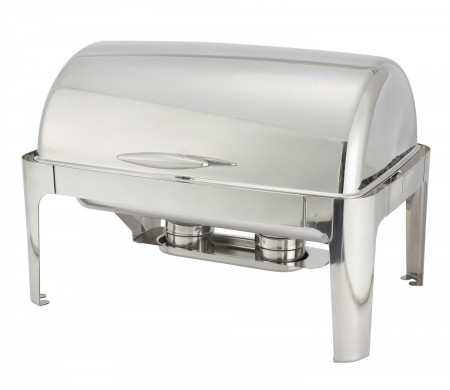 Winco 601 Madison Full Size Stainless Steel Roll-Top Chafer 8 Qt.