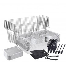 TigerChef 90-Piece Disposable Buffet Chafer Set with Serving Utensils