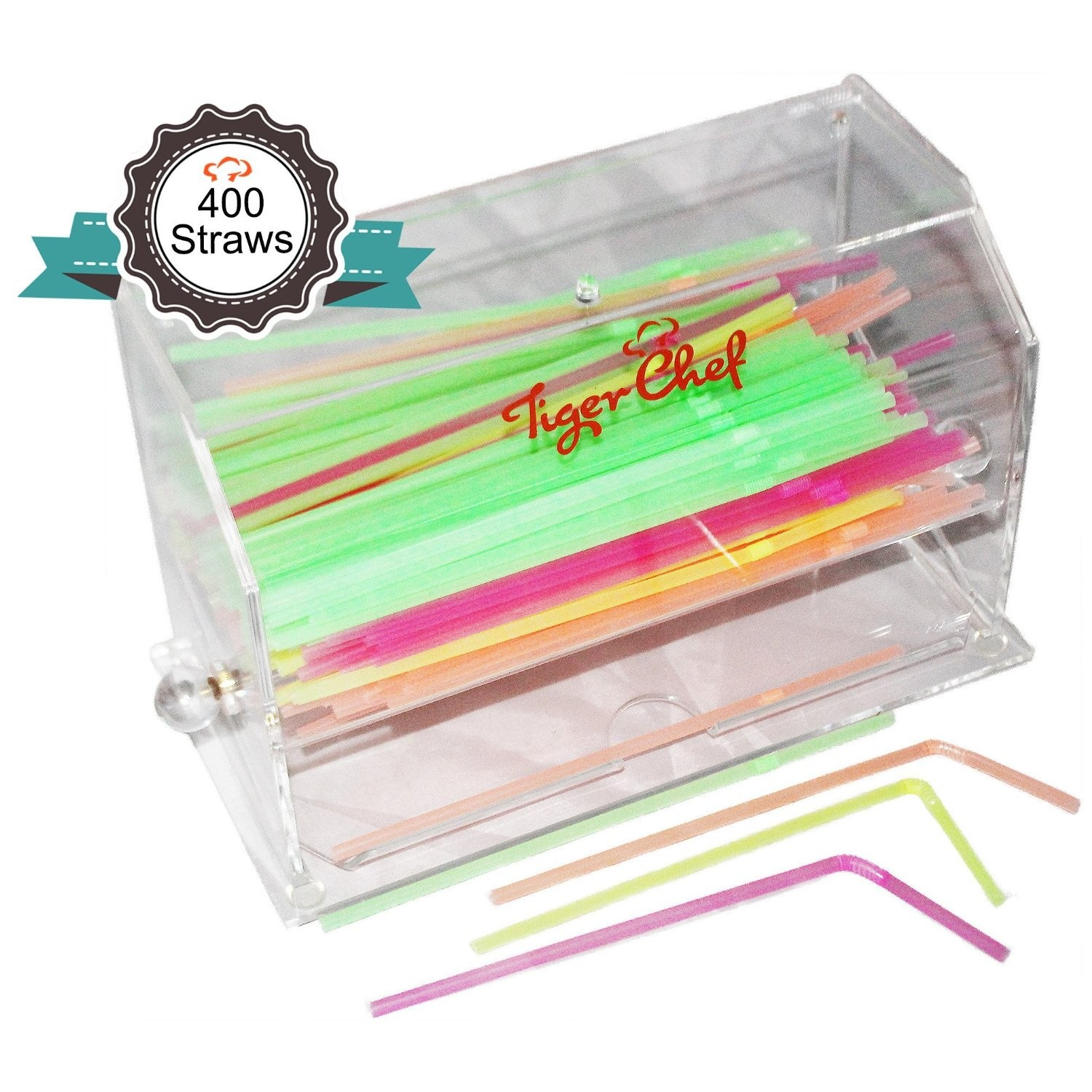 TigerChef Acrylic Straw Dispenser with 400 Straws