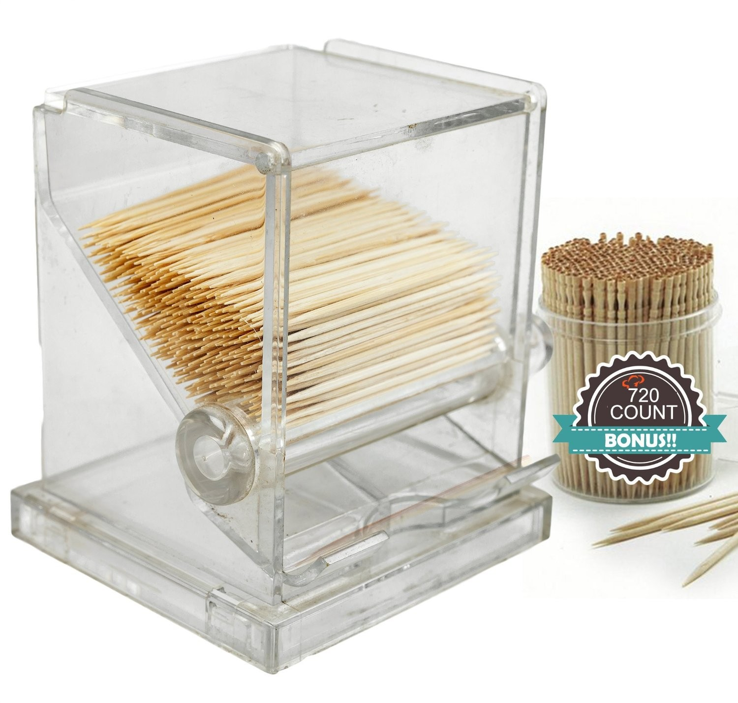 TigerChef Acrylic Toothpick Dispenser with 720 Toothpicks