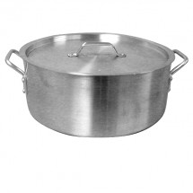 TigerChef Extra Heavy Aluminum Brazier Pot and Lid 24 Qt.