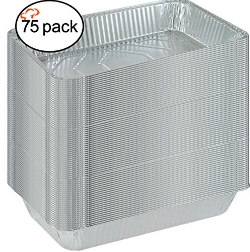 TigerChef Full Size Aluminum Foil Steam Table Pans and Lids - 75 pcs