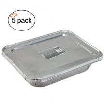 TigerChef Aluminum Full Size Foil Pans and Lids - 5 sets