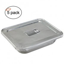TigerChef Aluminum Half Size Foil Pans and Lids - 5 pcs