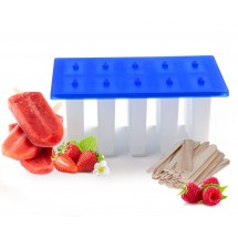 TigerChef BPA Free Popsicle Mold, 10 Section, 200 Popsicle Sticks