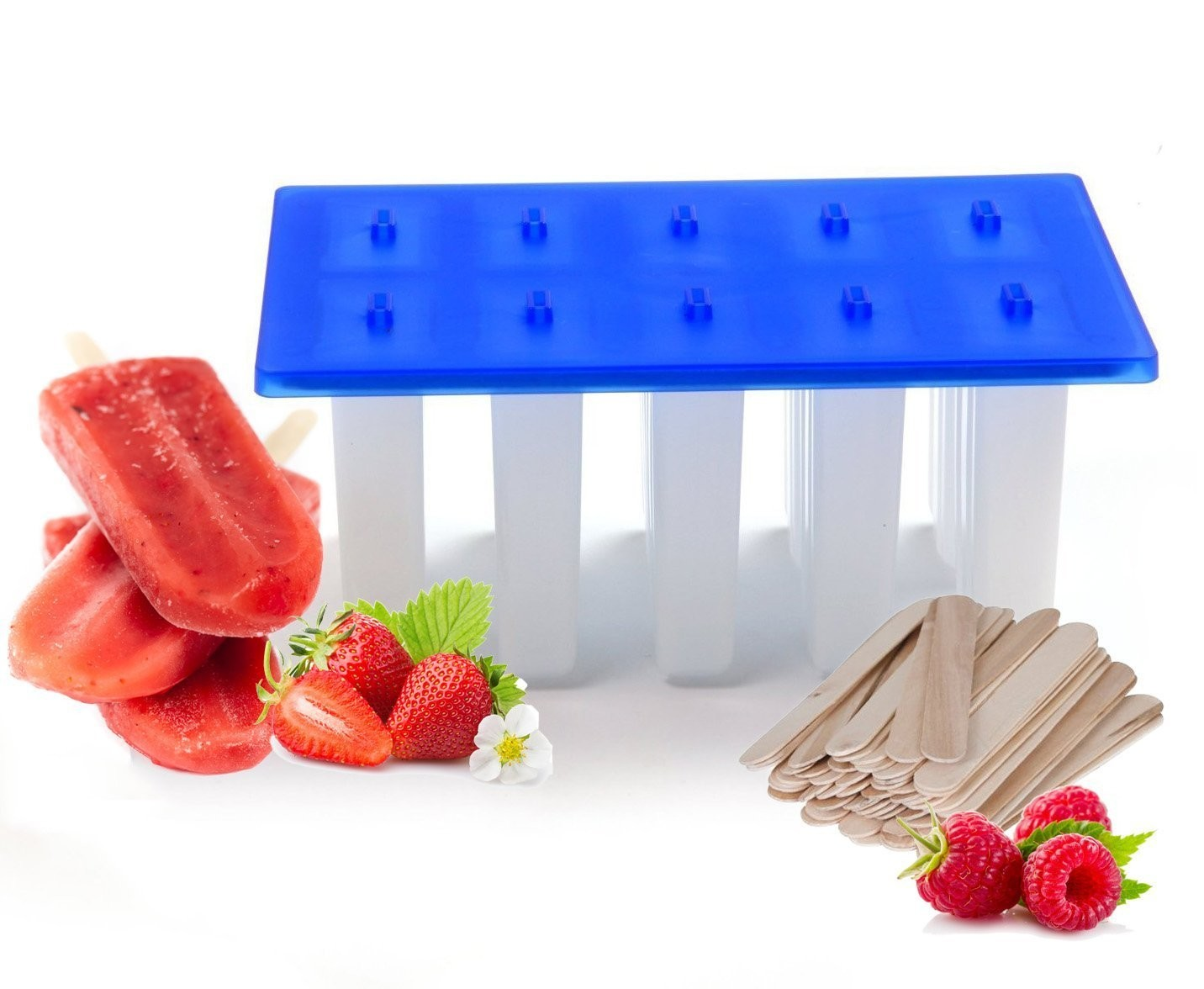 TigerChef 10-Section Popsicle Mold with 200 Popsicle Sticks