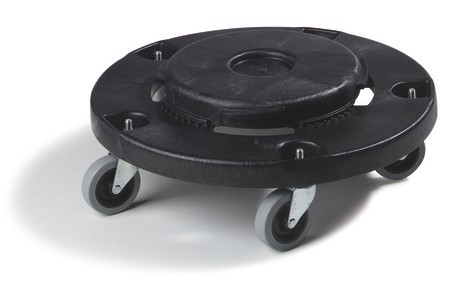 TigerChef Black Round Plastic Trash Can Dolly with 5 Casters