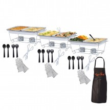 TigerChef 34-Piece Buffet Chafer Serving Kit & Food Warmers - 3 Complete Sets