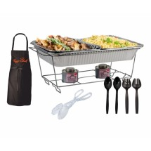 TigerChef Buffet Chafer Serving Kit & Food Warmers 34 pc - 3 Complete Sets