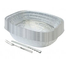 TigerChef Disposable Aluminum Oval Turkey Roasting Pan Set 17