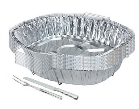 TigerChef Disposable Aluminum Oval Turkey Roasting Pan with Handle Rack Set 15