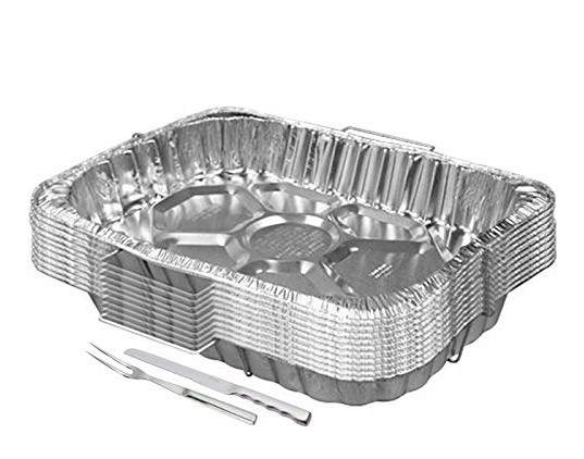 TigerChef Disposable Aluminum Rectangle Turkey Roasting Pan with Handle Rack Set 18