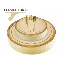 TigerChef Disposable Plastic Plate and Silverware Combo Set, Florid Cream and Gold - Service for 60