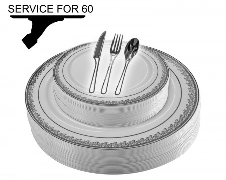 TigerChef Disposable Plastic Plate and Silverware Combo Set, Florid White and Silver - Service for 60