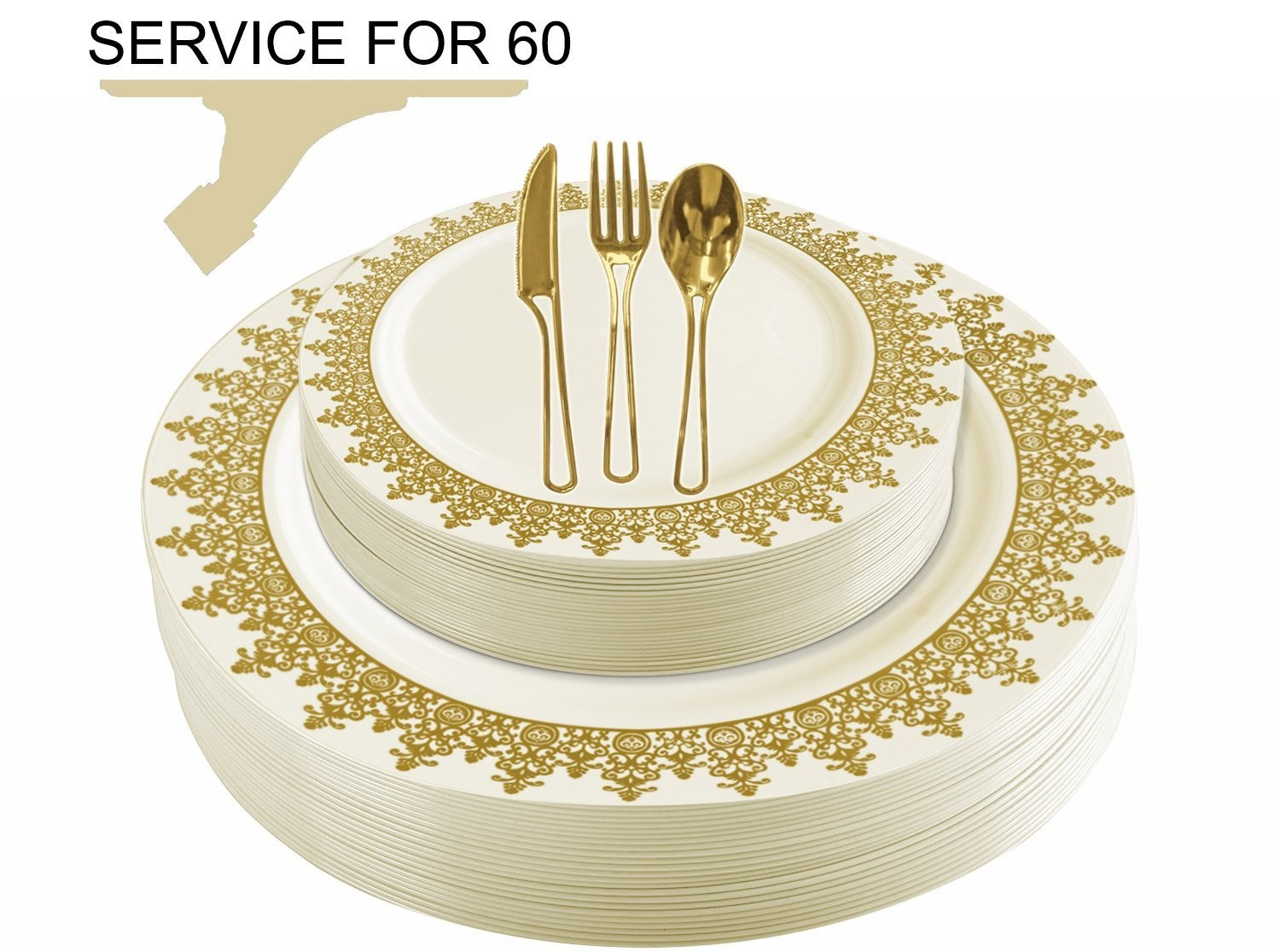 TigerChef Disposable Plastic Plate and Silverware Combo Set, Opulent Cream and Gold - Service for 60