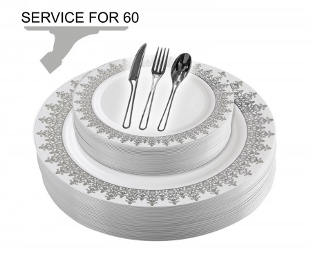 TigerChef Disposable Plastic Plate and Silverware Combo Set, Opulent White and Silver - Service for 60