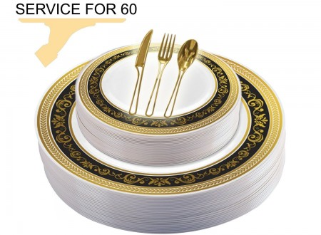 TigerChef Disposable Plastic Plate and Silverware Combo Set, Royalty Black and Gold - Service for 60