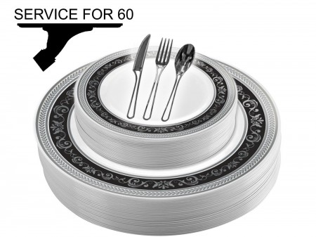 TigerChef Disposable Plastic Plate and Silverware Combo Set, Royalty Black and Silver - Service for 60