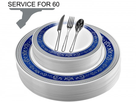 TigerChef Disposable Plastic Plate and Silverware Combo Set, Royalty Blue and Silver - Service for 60