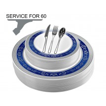 TigerChef Disposable Plastic Plate and Silverware Combo Set Royalty Blue and Silver - Service for  sc 1 st  TigerChef & Disposable Plates Disposable Dinnerware