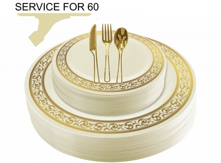 TigerChef Disposable Plastic Plate and Silverware Combo Set, Swirly Cream and Gold - Service for 60