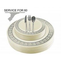 TigerChef Disposable Plastic Plate and Silverware Combo Set, Swirly Cream and Silver - Service for 60