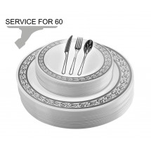 TigerChef Disposable Plastic Plate and Silverware Combo Set, Swirly White and Silver - Service for 60