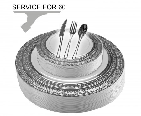 TigerChef Disposable Plastic Plate and Silverware Combo Set, Velvety White and Silver - Service for 60