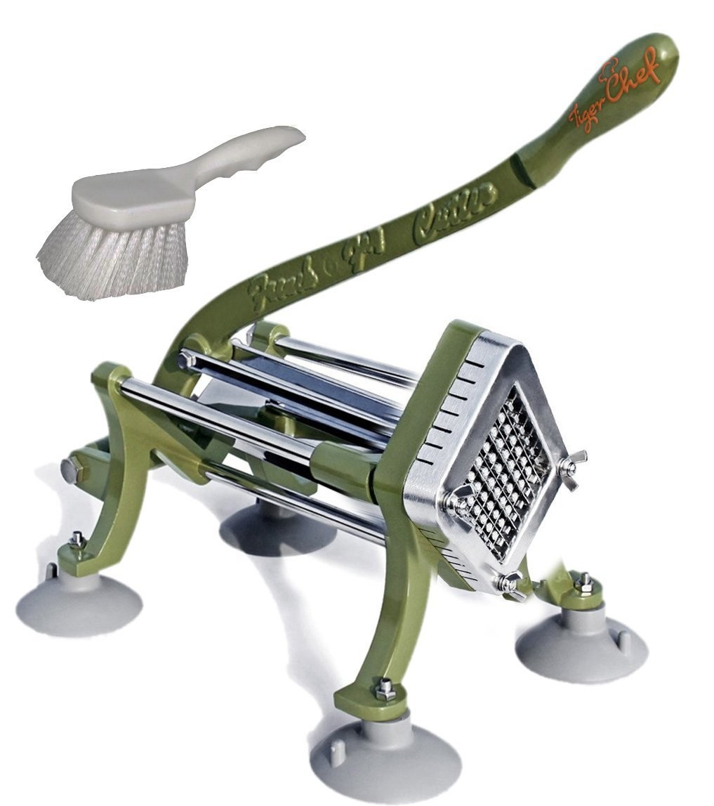 TigerChef French Fry Cutter 3/8& with Suction Feet and Cleaning Brush
