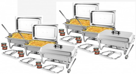 TigerChef Full Size 8 Qt. Stainless Steel Chafer Set - 6 Sets