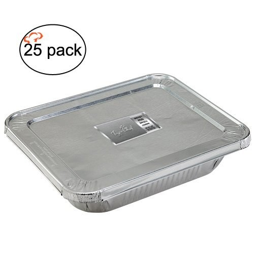 TigerChef Full Size Aluminum Foil Steam Table Pans and Lids - 25 pcs