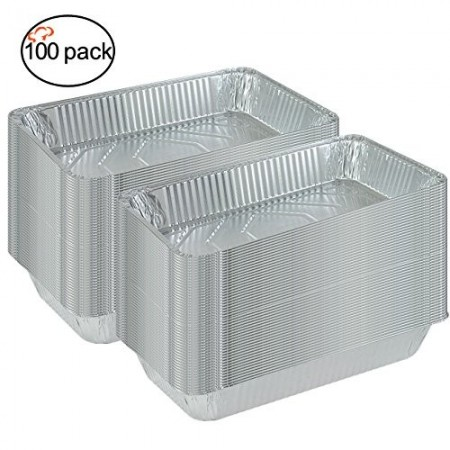 TigerChef Full Size Aluminum Foil Steam Table Pans and Lids - 100 pieces