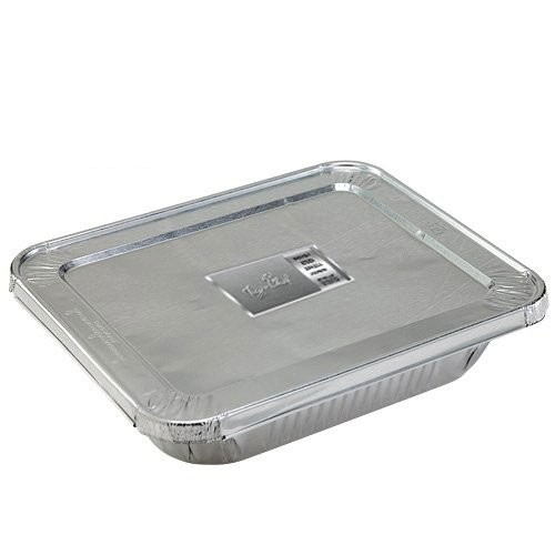 TigerChef Full Size Aluminum Foil Steam Table Pans and Lids - 50 pcs