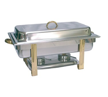 TigerChef Full Size Gold Accented Rectangular Chafing Dish Complete Set
