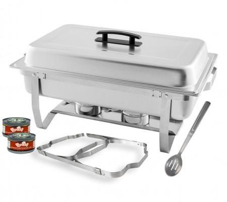 TigerChef Full Size Stainless Steel Chafer Set 8 Qt. - 3 Sets