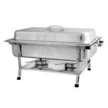 TigerChef Full Size Stainless Steel Rectangular Chafer With Plastic Footing 8 Qt.